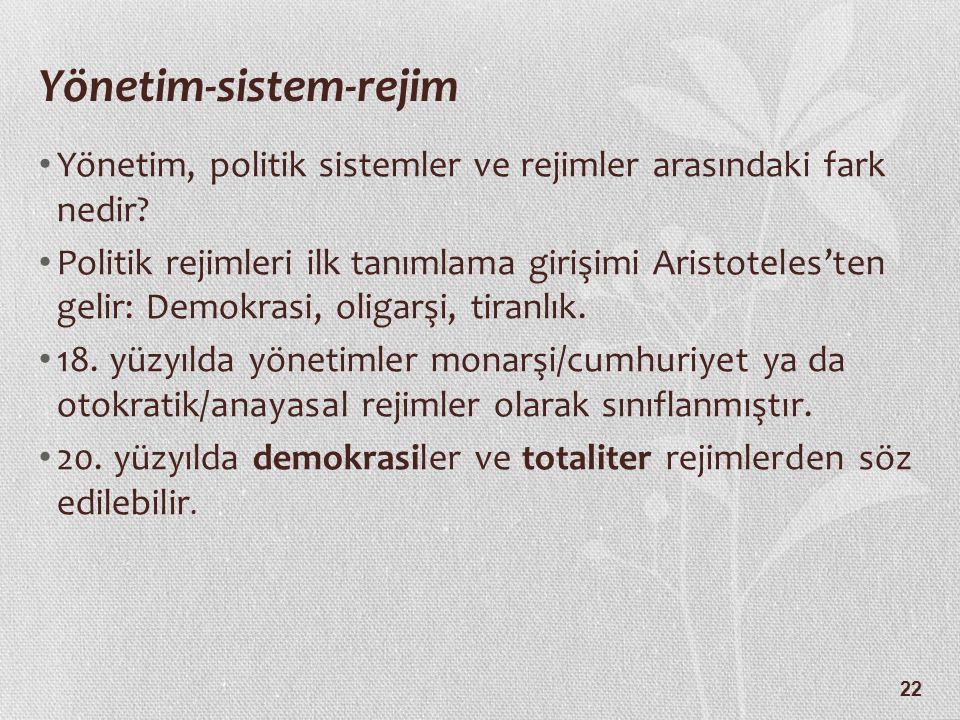 22 Yönetim-sistem-rejim Yönetim, politik sistemler ve rejimler arasındaki fark nedir? Politik rejimleri ilk tanımlama girişimi Aristoteles'ten gelir: