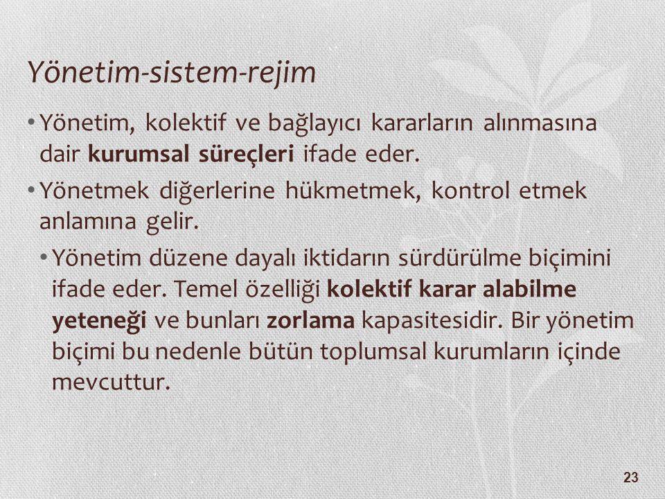 23 Yönetim-sistem-rejim Yönetim, kolektif ve bağlayıcı kararların alınmasına dair kurumsal süreçleri ifade eder. Yönetmek diğerlerine hükmetmek, kontr