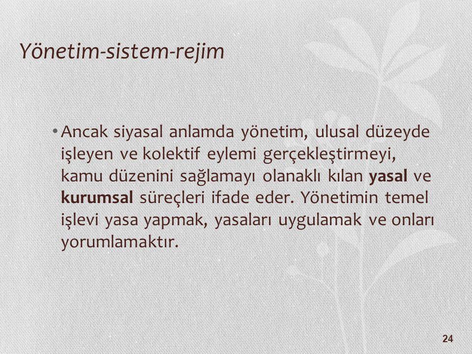 24 Yönetim-sistem-rejim Ancak siyasal anlamda yönetim, ulusal düzeyde işleyen ve kolektif eylemi gerçekleştirmeyi, kamu düzenini sağlamayı olanaklı kılan yasal ve kurumsal süreçleri ifade eder.