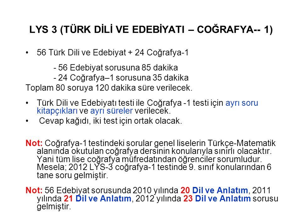 LYS 3 (TÜRK DİLİ VE EDEBİYATI – COĞRAFYA-- 1) 56 Türk Dili ve Edebiyat + 24 Coğrafya-1 - 56 Edebiyat sorusuna 85 dakika - 24 Coğrafya–1 sorusuna 35 dakika Toplam 80 soruya 120 dakika süre verilecek.