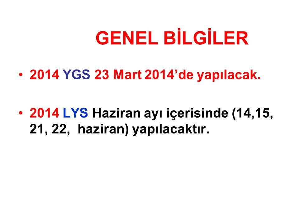 2014 YGS 23 Mart 2014'de yapılacak.