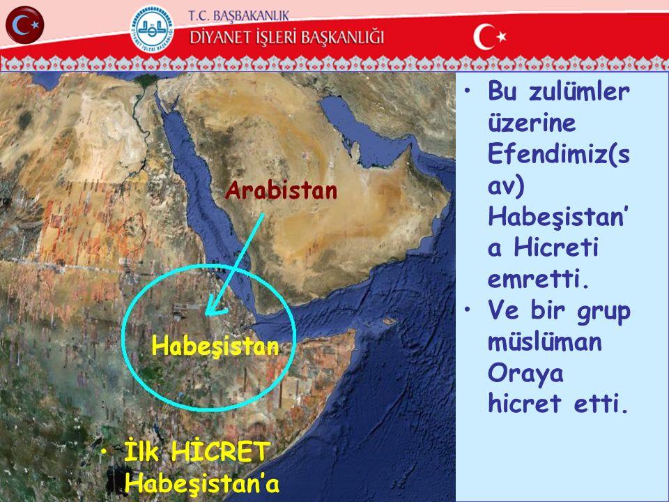 Bu zulümler üzerine Efendimiz(s av) Habeşistan' a Hicreti emretti. Ve bir grup müslüman Oraya hicret etti. İlk HİCRET Habeşistan'a