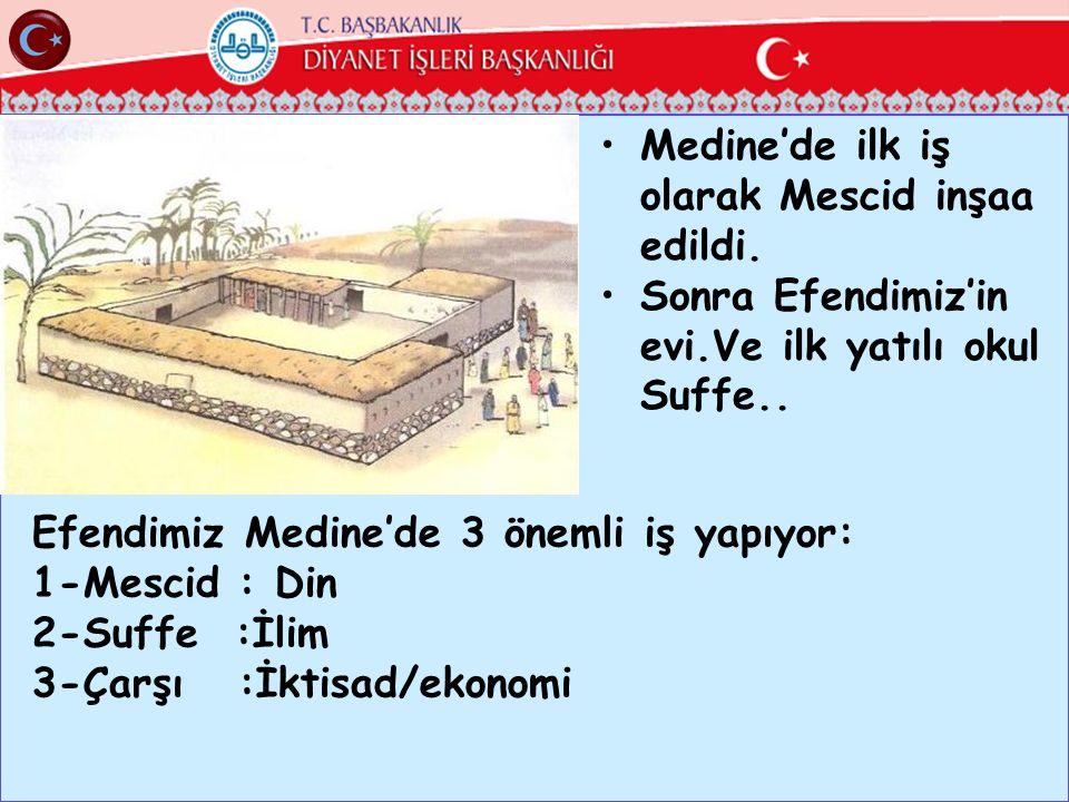 Medine'de ilk iş olarak Mescid inşaa edildi. Sonra Efendimiz'in evi.Ve ilk yatılı okul Suffe.. Efendimiz Medine'de 3 önemli iş yapıyor: 1-Mescid : Din