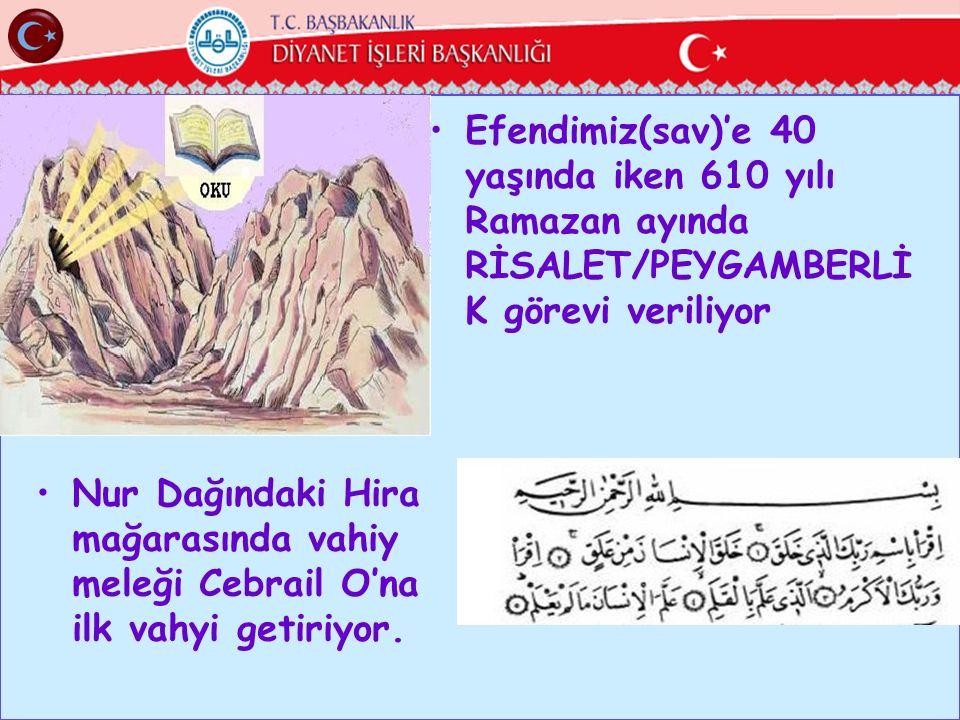 Efendimiz(sav)'e 40 yaşında iken 610 yılı Ramazan ayında RİSALET/PEYGAMBERLİ K görevi veriliyor Nur Dağındaki Hira mağarasında vahiy meleği Cebrail O'