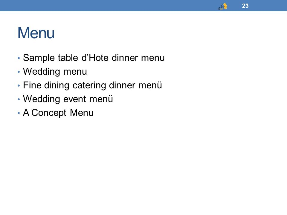 Menu 23 Sample table d'Hote dinner menu Wedding menu Fine dining catering dinner menü Wedding event menü A Concept Menu