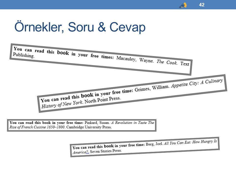 Örnekler, Soru & Cevap 42
