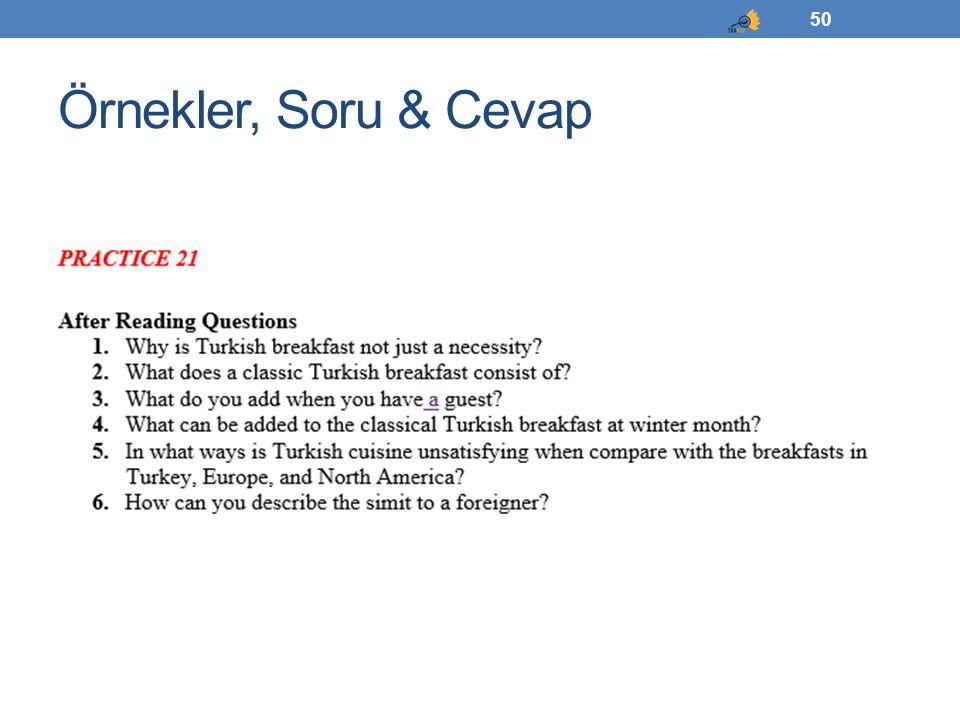 Örnekler, Soru & Cevap 50