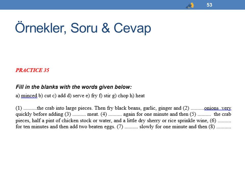 Örnekler, Soru & Cevap 53