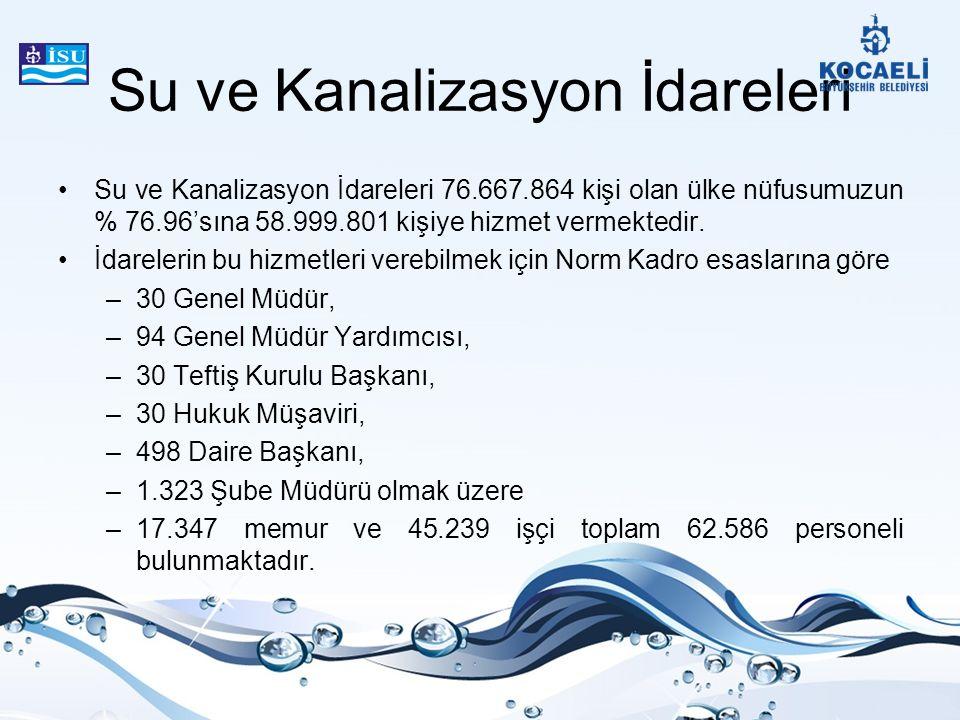 Su ve Kanalizasyon İdareleri Su ve Kanalizasyon İdareleri 76.667.864 kişi olan ülke nüfusumuzun % 76.96'sına 58.999.801 kişiye hizmet vermektedir. İda