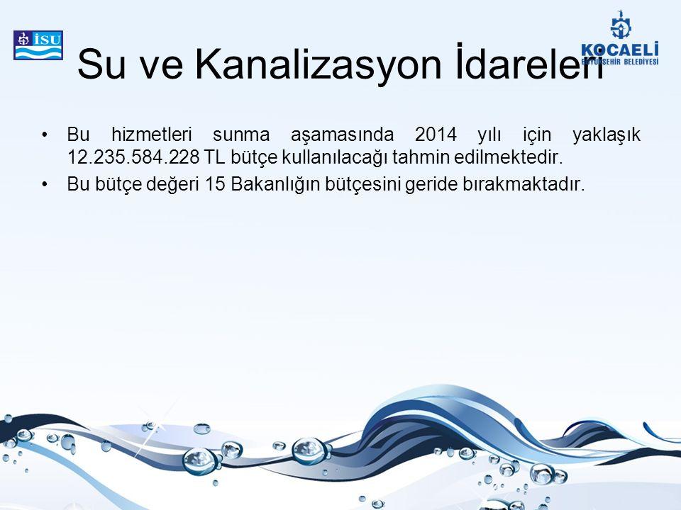 Su ve Kanalizasyon İdareleri Bu hizmetleri sunma aşamasında 2014 yılı için yaklaşık 12.235.584.228 TL bütçe kullanılacağı tahmin edilmektedir. Bu bütç