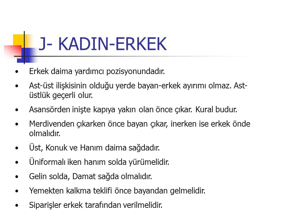 J- KADIN-ERKEK Erkek daima yardımcı pozisyonundadır. Ast-üst ilişkisinin olduğu yerde bayan-erkek ayırımı olmaz. Ast- üstlük geçerli olur. Asansörden