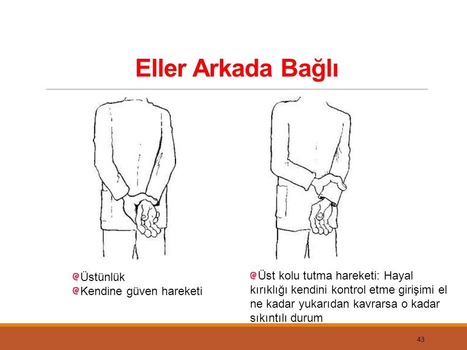 Eller Arkada Bağlı 43 Üstünlük Kendine güven hareketi Üst kolu tutma hareketi: Hayal kırıklığı kendini kontrol etme girişimi el ne kadar yukarıdan kav