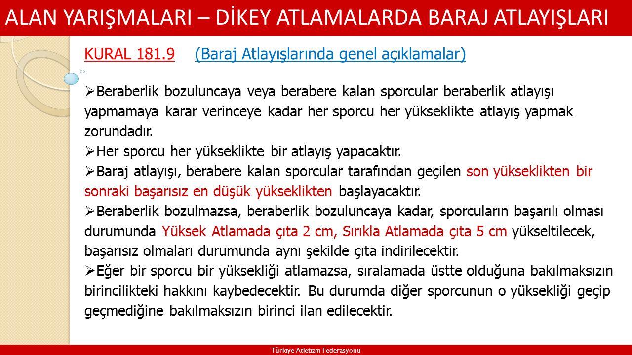 ALAN YARIŞMALARI – DİKEY ATLAMALARDA BARAJ ATLAYIŞLARI Türkiye Atletizm Federasyonu KURAL 181.9 (Baraj Atlayışlarında genel açıklamalar)  Beraberlik bozuluncaya veya berabere kalan sporcular beraberlik atlayışı yapmamaya karar verinceye kadar her sporcu her yükseklikte atlayış yapmak zorundadır.
