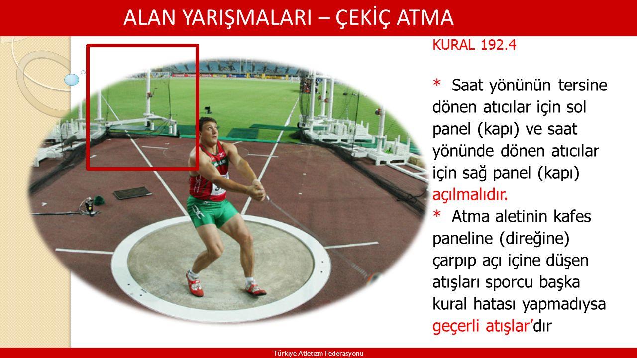ALAN YARIŞMALARI – ÇEKİÇ ATMA Türkiye Atletizm Federasyonu KURAL 192.4 * Saat yönünün tersine dönen atıcılar için sol panel (kapı) ve saat yönünde dönen atıcılar için sağ panel (kapı) açılmalıdır.