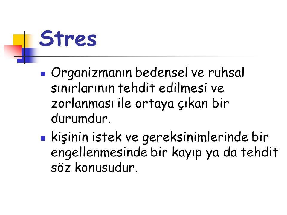 Stres Organizmanın bedensel ve ruhsal sınırlarının tehdit edilmesi ve zorlanması ile ortaya çıkan bir durumdur. kişinin istek ve gereksinimlerinde bir