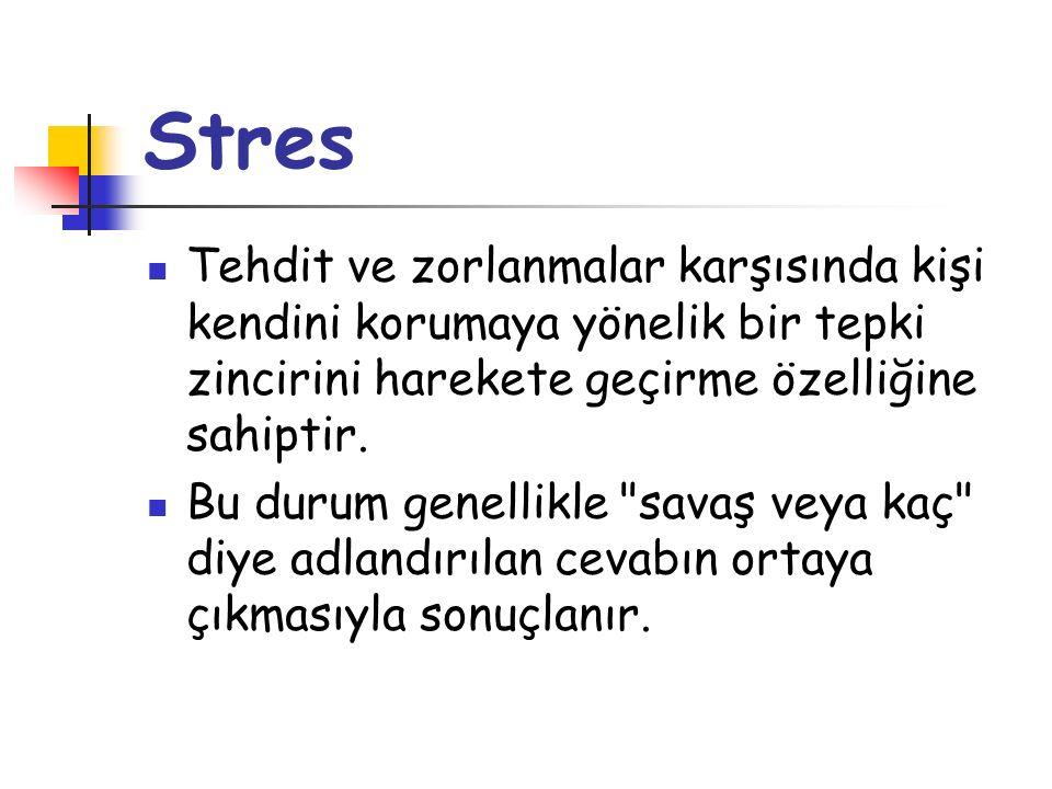 Stres Tehdit ve zorlanmalar karşısında kişi kendini korumaya yönelik bir tepki zincirini harekete geçirme özelliğine sahiptir. Bu durum genellikle