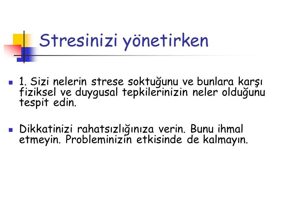 Stresinizi yönetirken 1. Sizi nelerin strese soktuğunu ve bunlara karşı fiziksel ve duygusal tepkilerinizin neler olduğunu tespit edin. Dikkatinizi ra