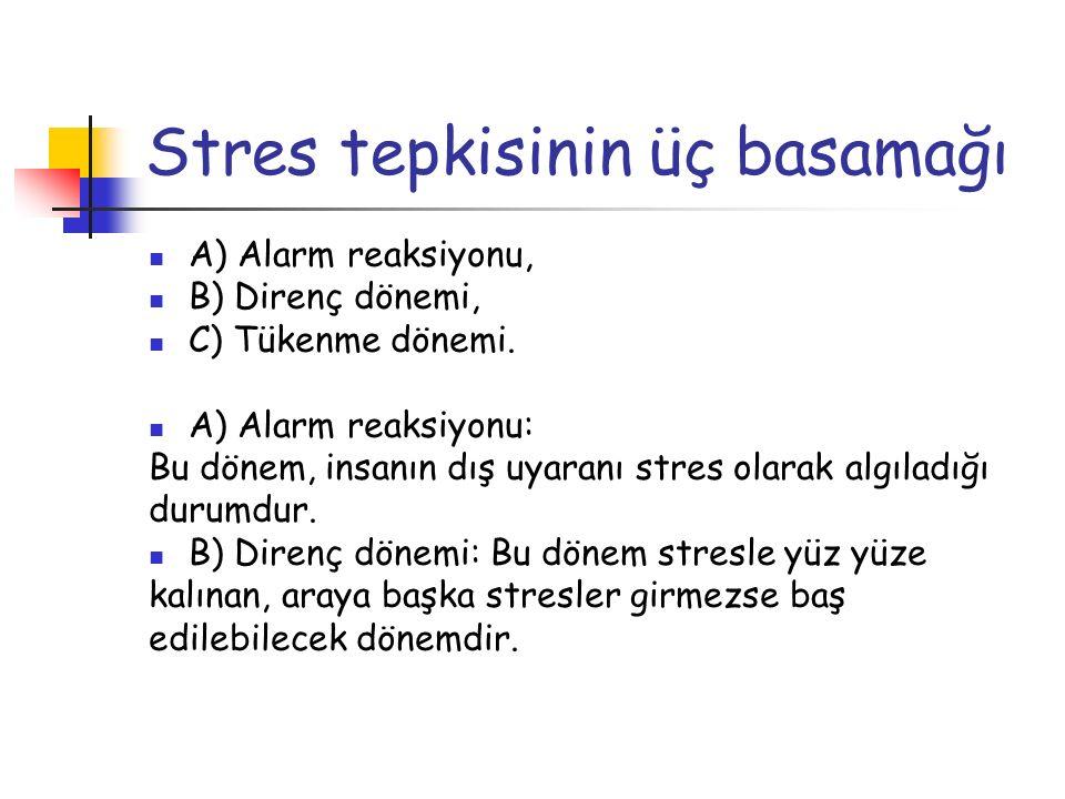 Stres tepkisinin üç basamağı A) Alarm reaksiyonu, B) Direnç dönemi, C) Tükenme dönemi. A) Alarm reaksiyonu: Bu dönem, insanın dış uyaranı stres olarak