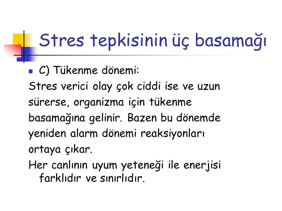 Stres tepkisinin üç basamağı C) Tükenme dönemi: Stres verici olay çok ciddi ise ve uzun sürerse, organizma için tükenme basamağına gelinir. Bazen bu d