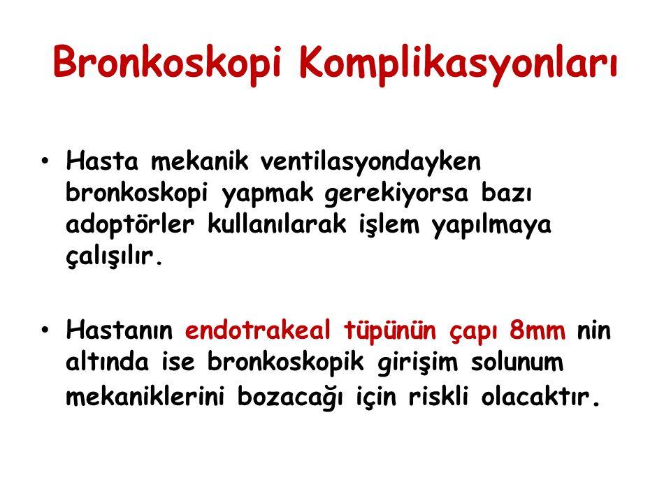 Bronkoskopi Komplikasyonları Hasta mekanik ventilasyondayken bronkoskopi yapmak gerekiyorsa bazı adoptörler kullanılarak işlem yapılmaya çalışılır. Ha