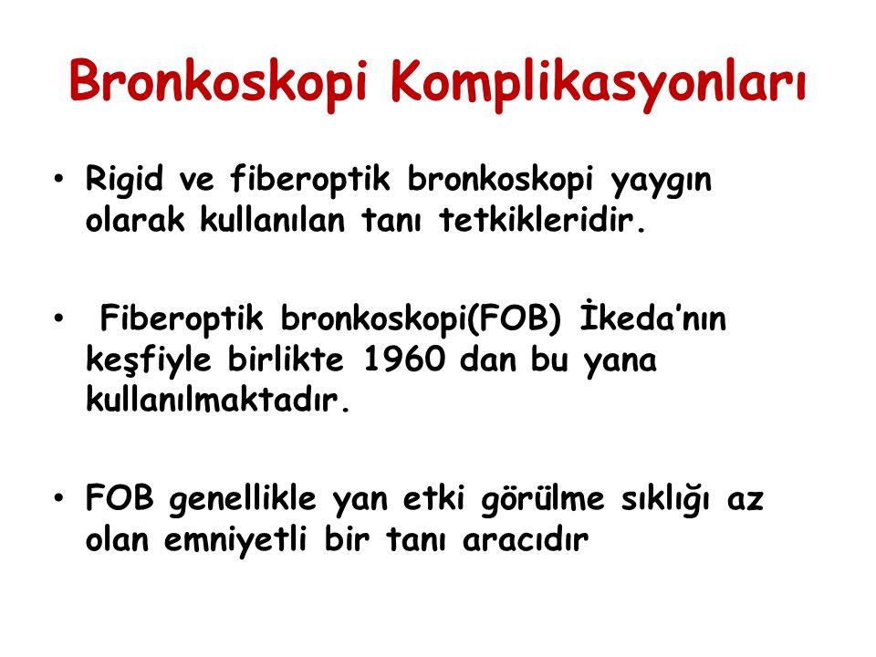 Bronkoskopide Görülen Komplikasyonlar Bronkoskopiye bağlı ölüm( Altta yatan ağır hastalıklara bağlı) Kardiyak komplikasyonlar ( Ölüm olmayan hastalarda sıklıkla) Fazla sedasyona bağlı ölüm riski artması Vazo-vagal reaksiyon Bulantı Kusma, Konvulsiyon,tremor Ateş-titreme Hipotansiyon Hipoksemi Hemopitizi (Bazan Fatal) Parankim içine kanama Pnömoni Pnömotoraks Göğüs ağrısı