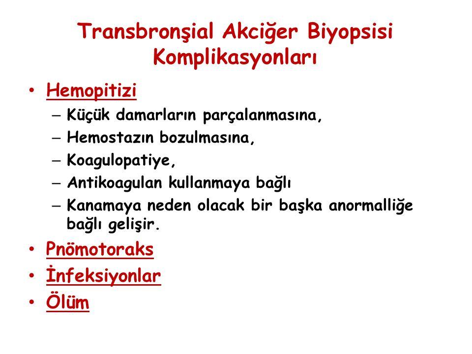 Transbronşial Akciğer Biyopsisi Komplikasyonları Hemopitizi – Küçük damarların parçalanmasına, – Hemostazın bozulmasına, – Koagulopatiye, – Antikoagulan kullanmaya bağlı – Kanamaya neden olacak bir başka anormalliğe bağlı gelişir.