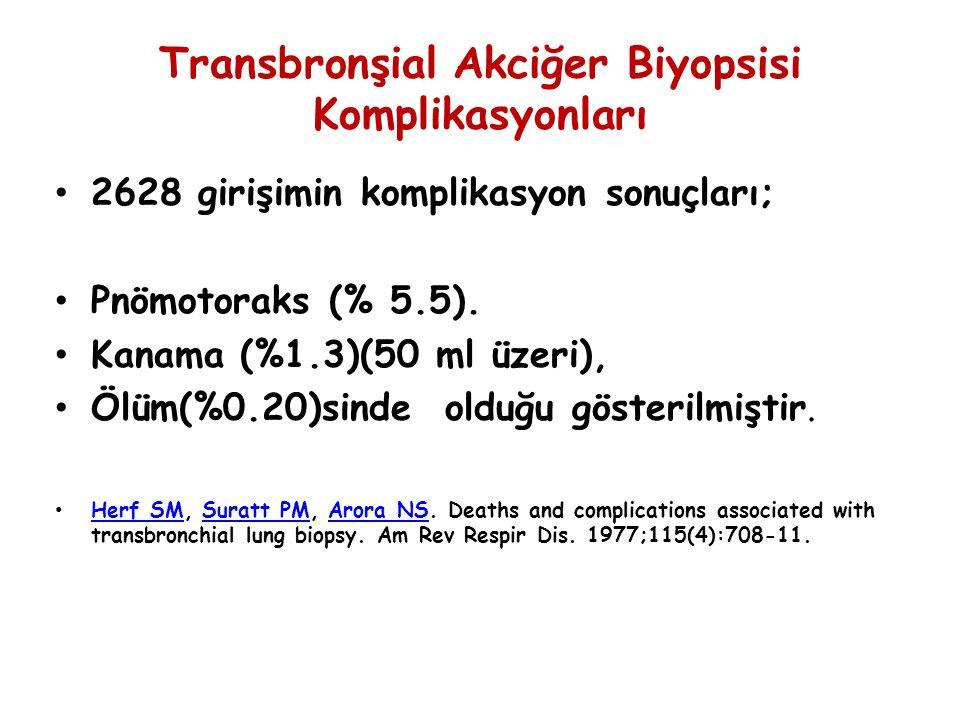 Transbronşial Akciğer Biyopsisi Komplikasyonları 2628 girişimin komplikasyon sonuçları; Pnömotoraks (% 5.5). Kanama (%1.3)(50 ml üzeri), Ölüm(%0.20)si