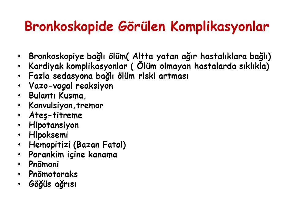 Bronkoskopide Görülen Komplikasyonlar Bronkoskopiye bağlı ölüm( Altta yatan ağır hastalıklara bağlı) Kardiyak komplikasyonlar ( Ölüm olmayan hastalard
