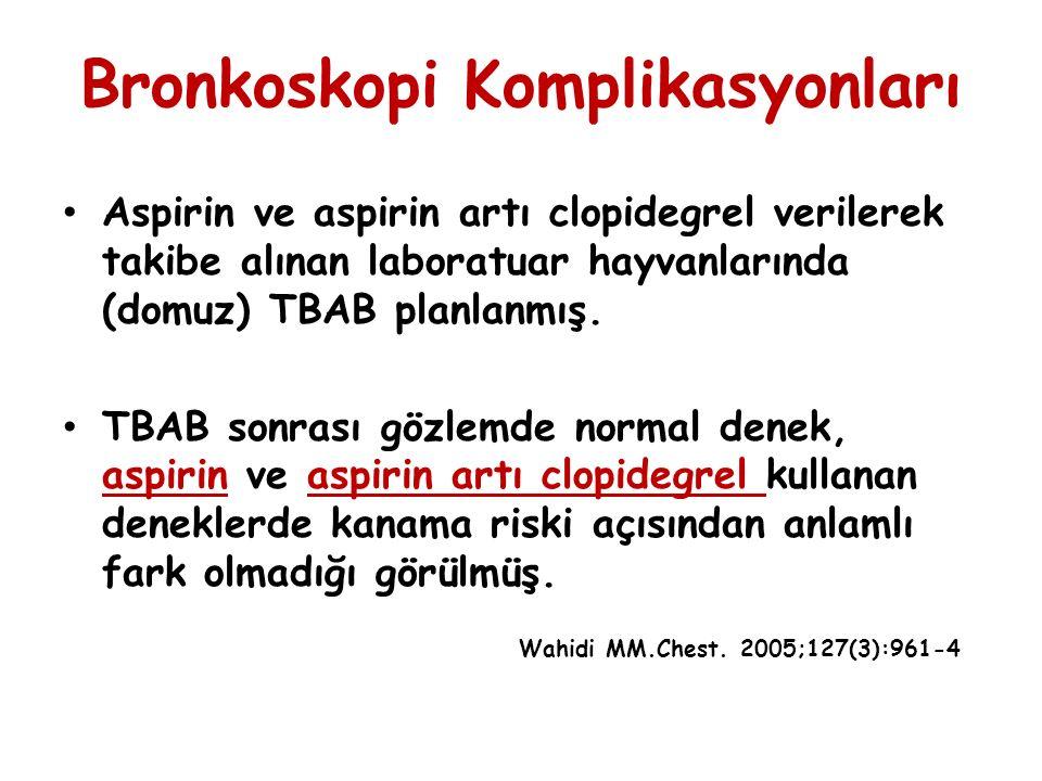 Bronkoskopi Komplikasyonları Aspirin ve aspirin artı clopidegrel verilerek takibe alınan laboratuar hayvanlarında (domuz) TBAB planlanmış. TBAB sonras