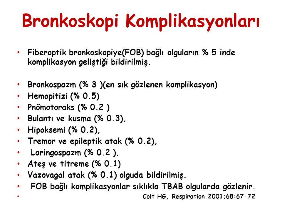 Bronkoskopi Komplikasyonları Fiberoptik bronkoskopiye(FOB) bağlı olguların % 5 inde komplikasyon geliştiği bildirilmiş. Bronkospazm (% 3 )(en sık gözl