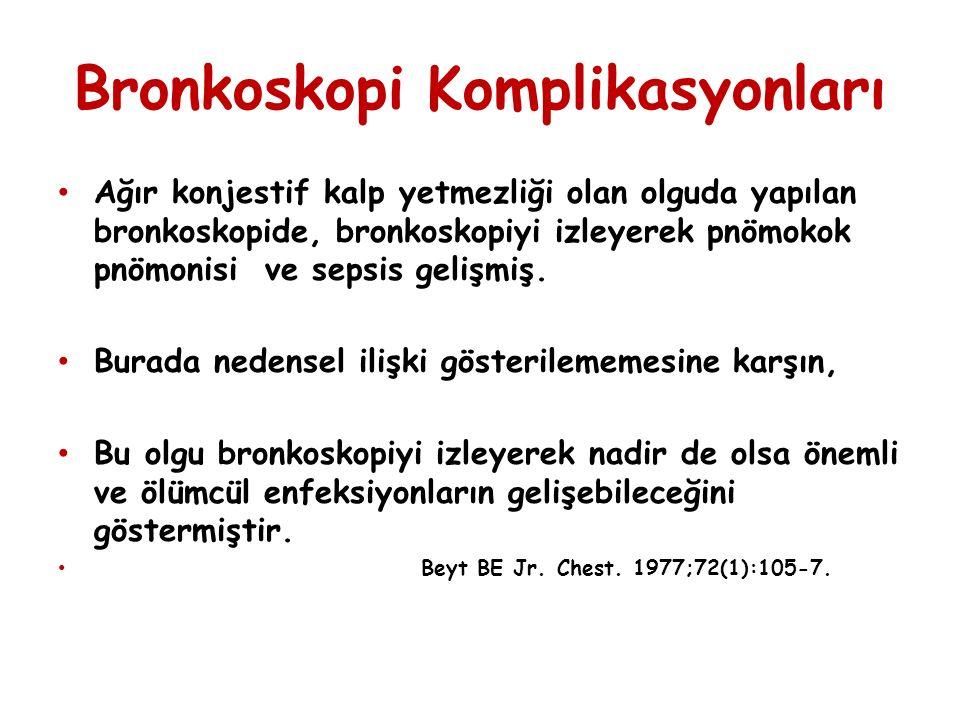 Bronkoskopi Komplikasyonları Ağır konjestif kalp yetmezliği olan olguda yapılan bronkoskopide, bronkoskopiyi izleyerek pnömokok pnömonisi ve sepsis gelişmiş.