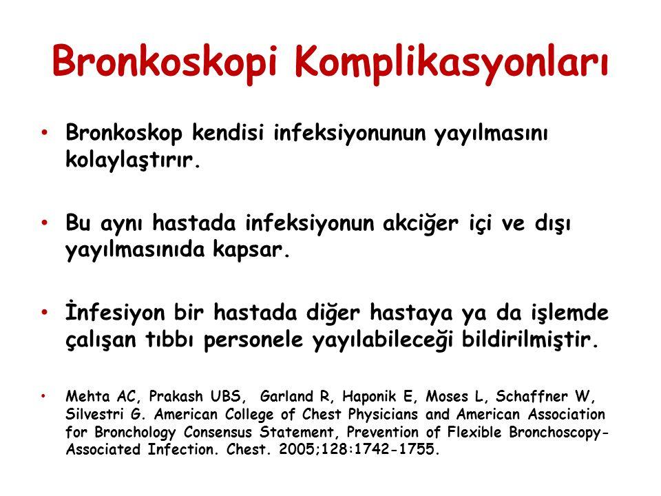Bronkoskopi Komplikasyonları Bronkoskop kendisi infeksiyonunun yayılmasını kolaylaştırır. Bu aynı hastada infeksiyonun akciğer içi ve dışı yayılmasını