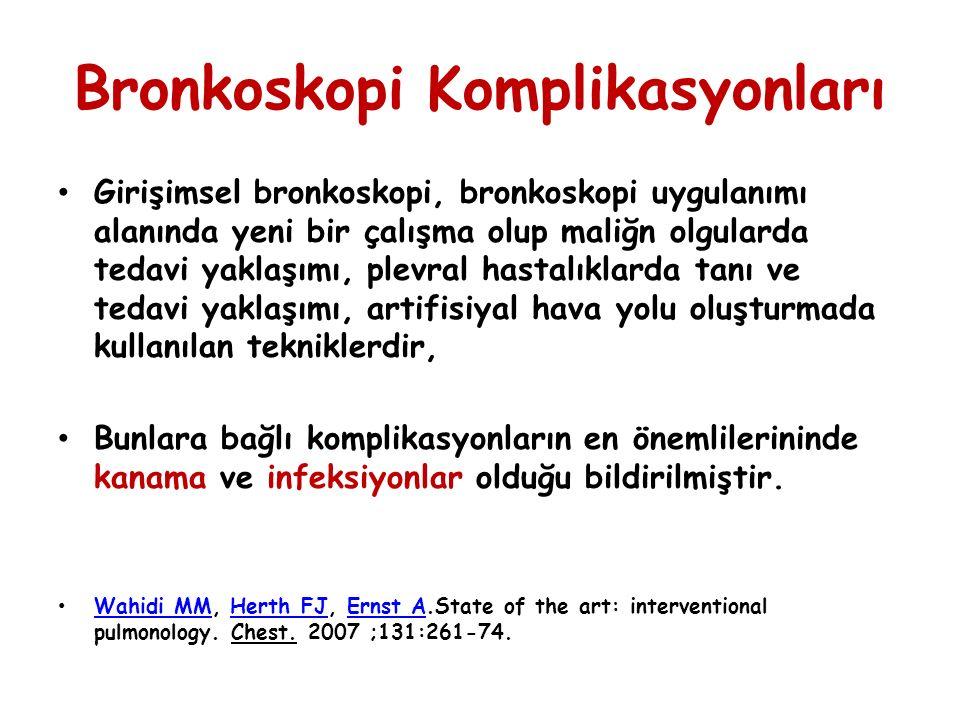 Bronkoskopi Komplikasyonları Girişimsel bronkoskopi, bronkoskopi uygulanımı alanında yeni bir çalışma olup maliğn olgularda tedavi yaklaşımı, plevral