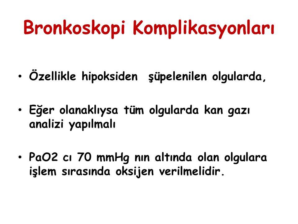 Bronkoskopi Komplikasyonları Ateş-titreme Hipotansiyon Hipoksemi Hemopitizi (Bazan fatal) Parankim içine kanama Pnömoni Pnömotoraks Göğüs ağrısı