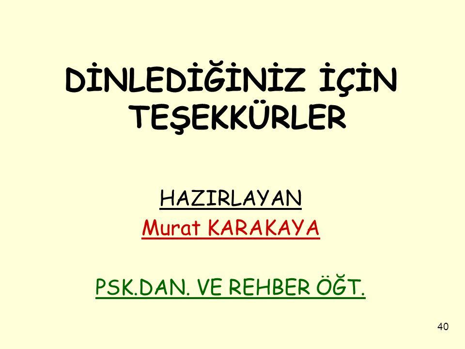 DİNLEDİĞİNİZ İÇİN TEŞEKKÜRLER HAZIRLAYAN Murat KARAKAYA PSK.DAN. VE REHBER ÖĞT. 40