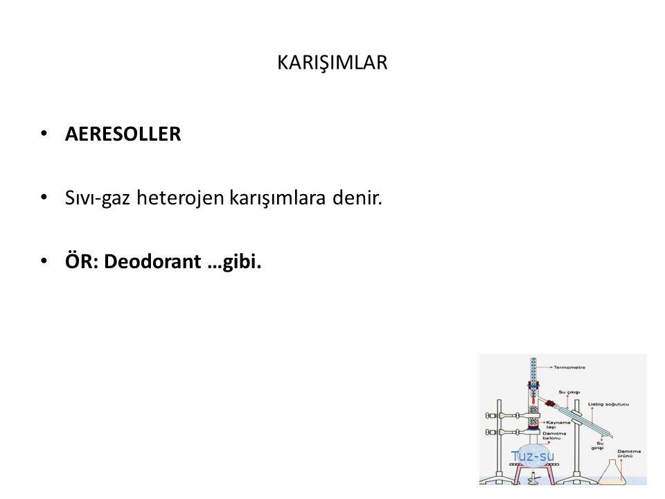Tuz-su KARIŞIMLAR AERESOLLER Sıvı-gaz heterojen karışımlara denir. ÖR: Deodorant …gibi.