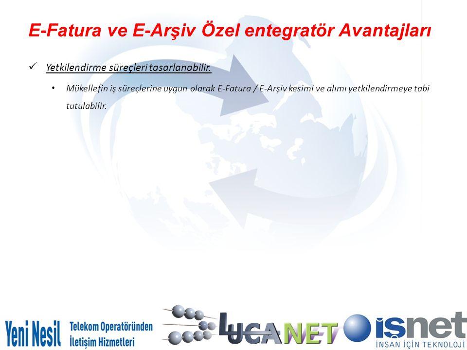 E-Fatura ve E-Arşiv Özel entegratör Avantajları Yetkilendirme süreçleri tasarlanabilir. Mükellefin iş süreçlerine uygun olarak E-Fatura / E-Arşiv kesi