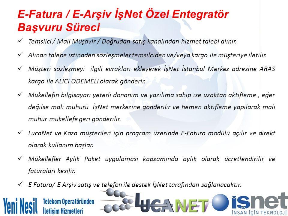 E-Fatura / E-Arşiv İşNet Özel Entegratör Başvuru Süreci Temsilci / Mali Müşavir / Doğrudan satış kanalından hizmet talebi alınır. Alınan talebe istina
