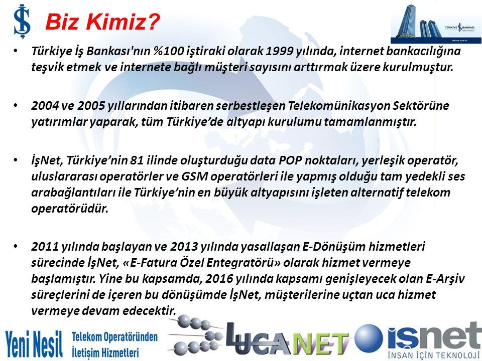 Biz Kimiz? Türkiye İş Bankası'nın %100 iştiraki olarak 1999 yılında, internet bankacılığına teşvik etmek ve internete bağlı müşteri sayısını arttırmak