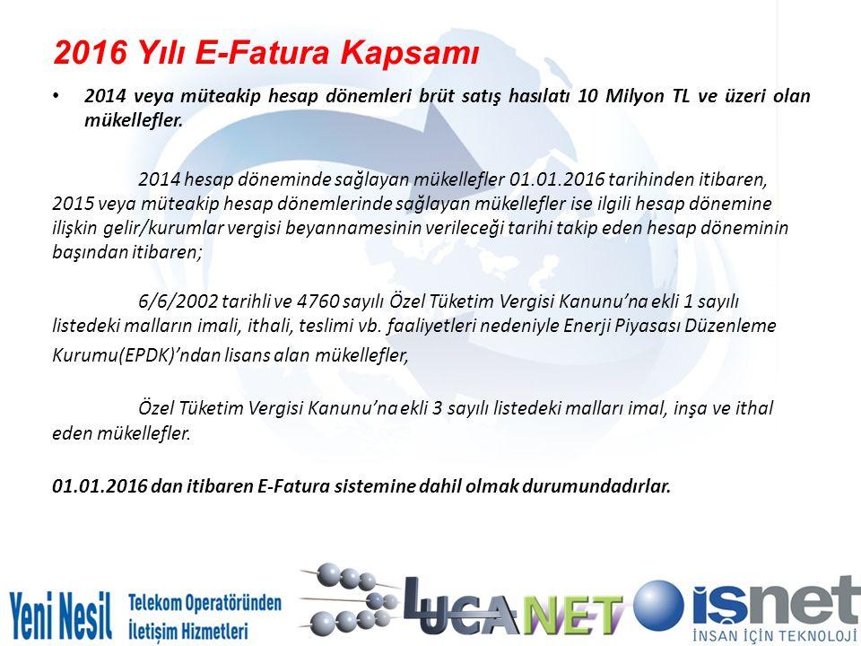 İşNet E Fatura ve E-Arşiv LucaNet 2016 Özel Kampanya İşNet Nette Fatura Hizmeti Fiyat Tablosu ( KDV Hariç ) PaketMevcut FiyatLucaNet Özel FiyatLimit Aşım Fiyatı NetteFatura Paket 10090,00 ₺ 72,00 ₺ 0,85 ₺ NetteFatura Paket 200100,00 ₺ 80,00 ₺ 0,80 ₺ NetteFatura Paket 250135,00 ₺ 108,00 ₺ 0,75 ₺ NetteFatura Paket 300175,00 ₺ 140,00 ₺ 0,70 ₺ NetteFatura Paket 400225,00 ₺ 180,00 ₺ 0,65 ₺ NetteFatura Paket 500300,00 ₺ 240,00 ₺ 0,60 ₺ NetteFatura Paket 1000500,00 ₺ 400,00 ₺ 0,55 ₺ NetteFatura Paket 1500675,00 ₺ 540,00 ₺ 0,50 ₺ NetteFatura Paket 20001.000,00 ₺ 800,00 ₺ 0,45 ₺ NetteFatura Paket 25001.150,00 ₺ 920,00 ₺ 0,40 ₺ NetteFatura Paket 35001.500,00 ₺ 1.200,00 ₺ 0,35 ₺ NetteFatura Paket 50002.000,00 ₺ 1.600,00 ₺ 0,30 ₺ NetteFatura Paket 75002.500,00 ₺ 2.000,00 ₺ 0,25 ₺ NetteFatura Paket 100003.000,00 ₺ 2.400,00 ₺ 0,20 ₺