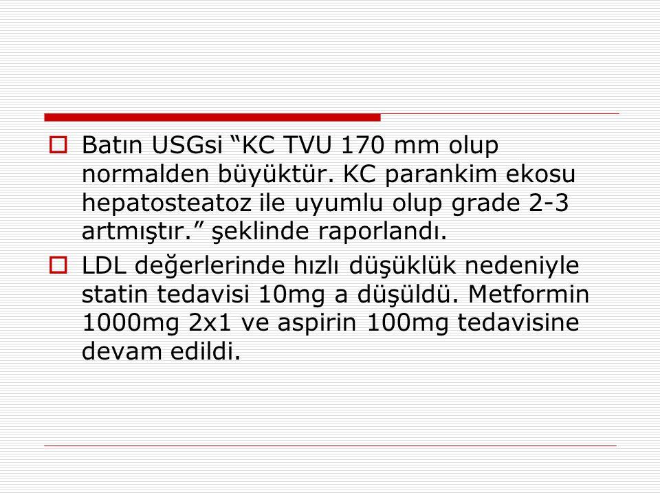 """ Batın USGsi """"KC TVU 170 mm olup normalden büyüktür. KC parankim ekosu hepatosteatoz ile uyumlu olup grade 2-3 artmıştır."""" şeklinde raporlandı.  LDL"""