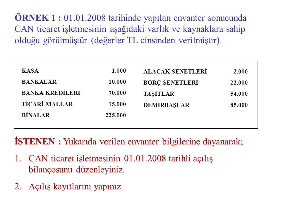 ÖRNEK 1 : 01.01.2008 tarihinde yapılan envanter sonucunda CAN ticaret işletmesinin aşağıdaki varlık ve kaynaklara sahip olduğu görülmüştür (değerler TL cinsinden verilmiştir).