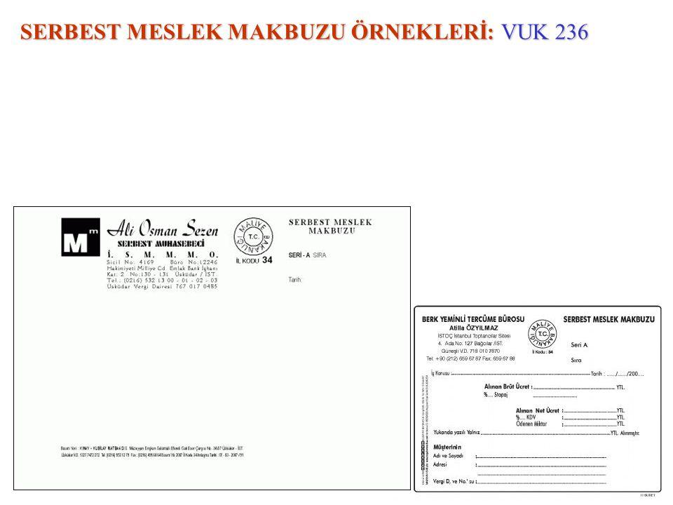SERBEST MESLEK MAKBUZU ÖRNEKLERİ: VUK 236