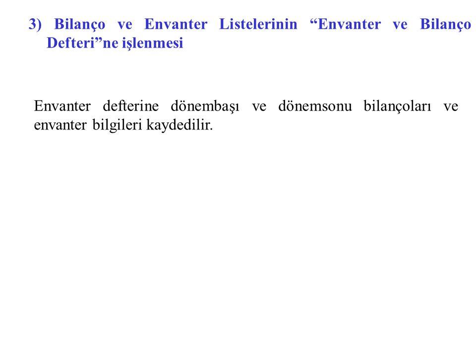 """3) Bilanço ve Envanter Listelerinin """"Envanter ve Bilanço Defteri""""ne işlenmesi Envanter defterine dönembaşı ve dönemsonu bilançoları ve envanter bilgil"""