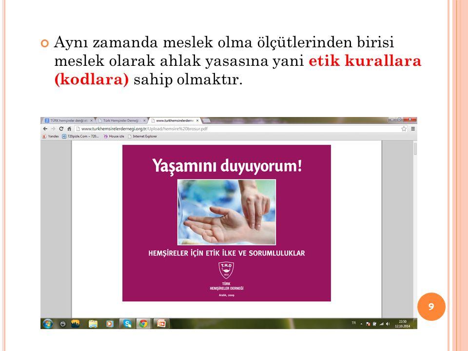 Ülkemizde 2009 yılında Türk Hemşireler Derneği tarafından hemşirelerin uyması gereken etik kurallar yayınlanmıştır.