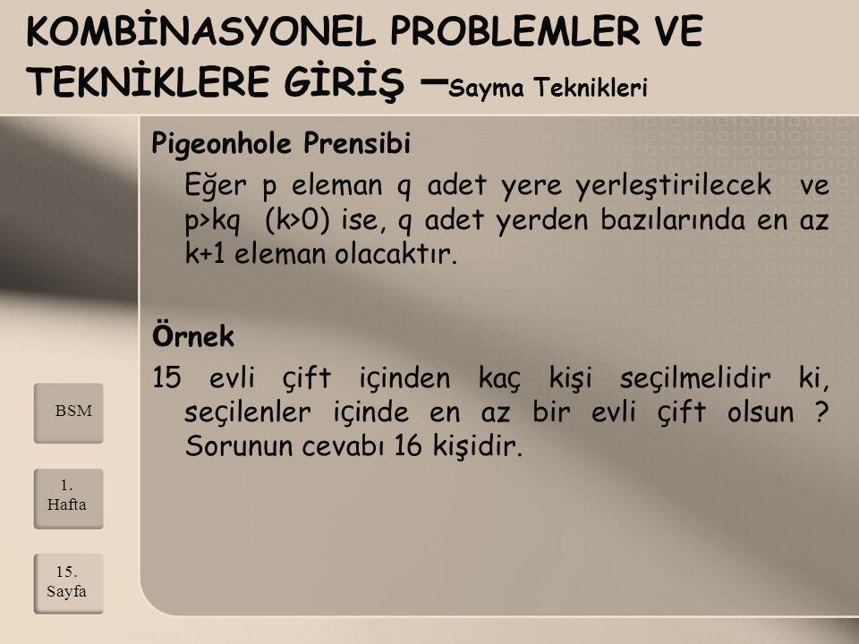 KOMBİNASYONEL PROBLEMLER VE TEKNİKLERE GİRİŞ – Sayma Teknikleri Pigeonhole Prensibi Eğer p eleman q adet yere yerleştirilecek ve p>kq (k>0) ise, q ade