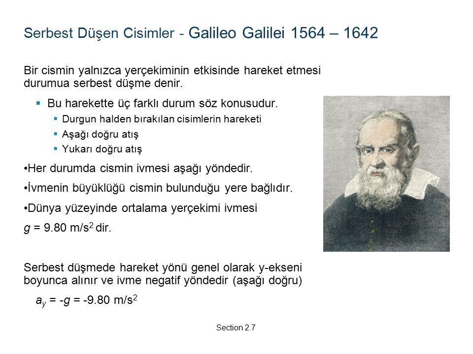 Serbest Düşen Cisimler - Galileo Galilei 1564 – 1642 Bir cismin yalnızca yerçekiminin etkisinde hareket etmesi durumua serbest düşme denir.