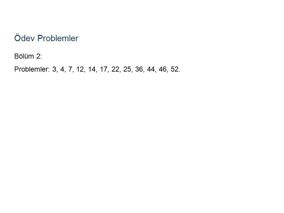 Ödev Problemler Bölüm 2: Problemler: 3, 4, 7, 12, 14, 17, 22, 25, 36, 44, 46, 52.