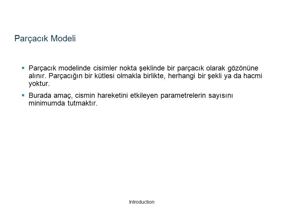 Parçacık Modeli  Parçacık modelinde cisimler nokta şeklinde bir parçacık olarak gözönüne alınır.