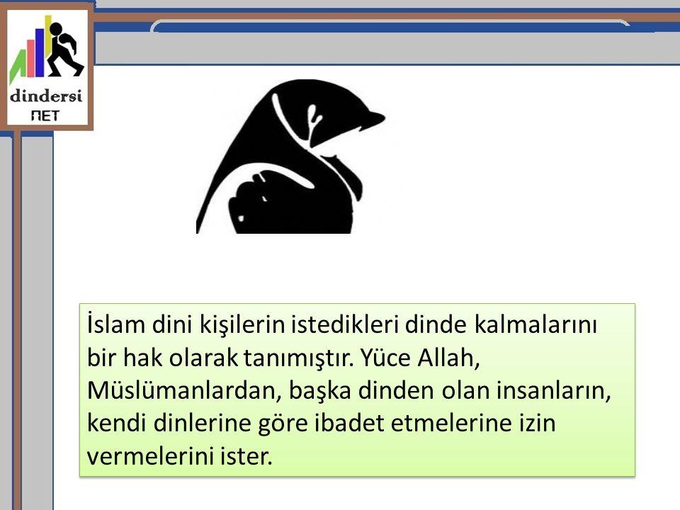 İslam dini kişilerin istedikleri dinde kalmalarını bir hak olarak tanımıştır. Yüce Allah, Müslümanlardan, başka dinden olan insanların, kendi dinlerin